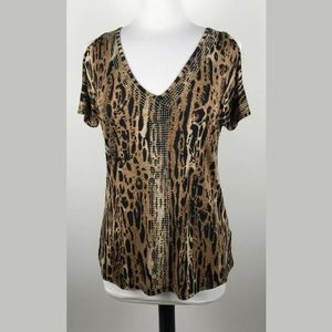 Boston Proper Animal Print Cold Shoulder Top